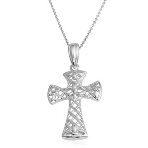 Jewelry - Silvertone Cross Pendant With Chain (18 in)